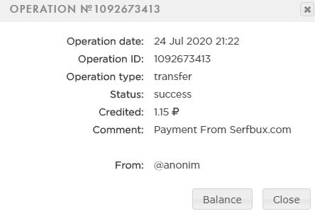 Prova pagamento serflBux