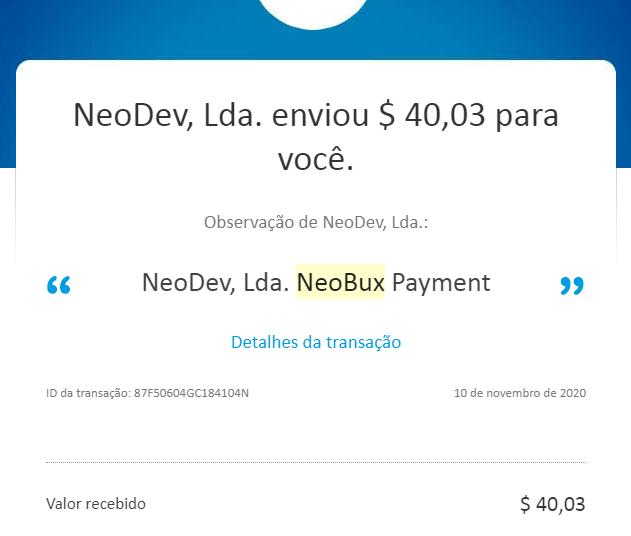 Pagamento Neobux paypal