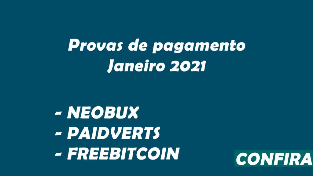 Provas de pagamento Neobux FreeBitcoin e Paidverts