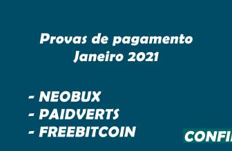 Provas de pagamento Neobux FreeBitcoin e Paidverts 2k BRL
