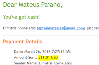 Pagamento Scarlet Clicks e GPTPlanet $50 Payza