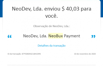 1º Pagamento neobux $40 via Paypal 2020